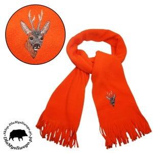 Myśliwski szalik pomarańczowy polarowy z nadrukiem
