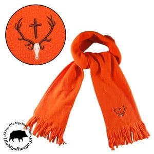 Myśliwski szalik pomarańczowy polarowy z wieńcem
