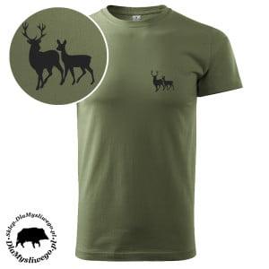 Tshirt khaki myśliwska flex byk z łanią