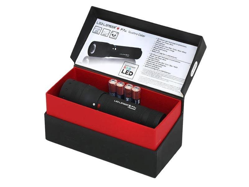 Latarka Ledlenser P7QC pudełko prezentowe otwarte