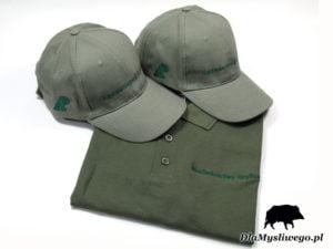Czapka i koszulka z haftem polowanie Nadleśnictwo