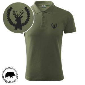 Koszulka myśliwska polo byk w wieńcu