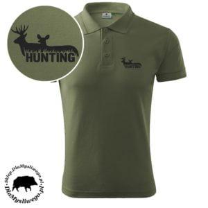 Koszulka myśliwska polo hunting z bykiem i łanią