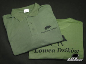 Koszulka polo z nadrukiem pogromca łowca dzików