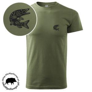 Koszulka khaki wędkarska rybka szczupak