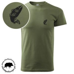 Khaki wędkarska koszulka krótki rękaw rybka