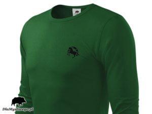 Myśliwska zielona długi rękaw koń z podkową