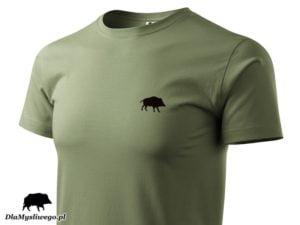 T-shirt khaki myśliwski dzik