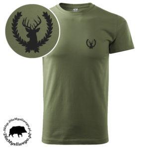T-shirt myśliwski khaki byk w wieńcu