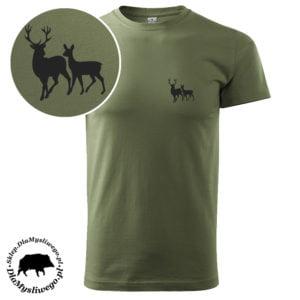 T-shirt myśliwski khaki byk z łanią