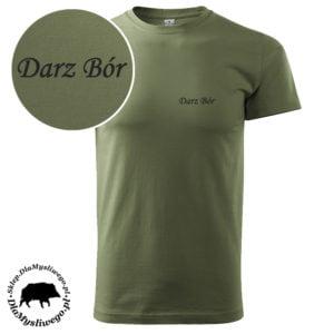 T-shirt khaki myśliwski napis darz bór