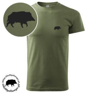 T-shirt khaki myśliwski krótki rękaw dzik