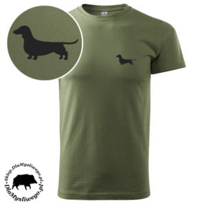 T-shirt myśliwski khaki pies jamnik
