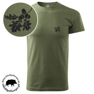 T-shirt myśliwski khaki liście dębu