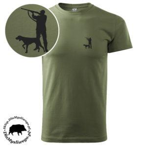 T-shirt myśliwski khaki myśliwy z wyżłem