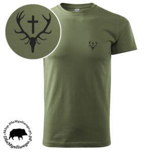 T-shirt khaki myśliwski wieniec